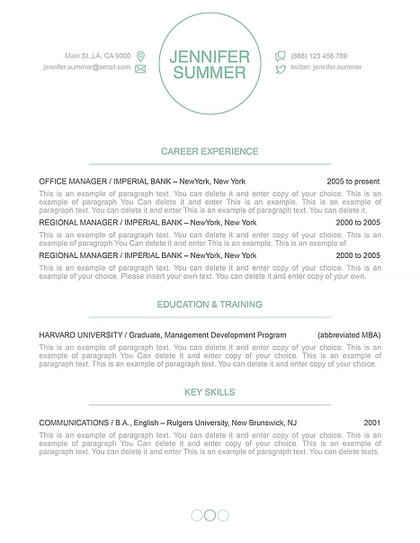 Resume Template 110390