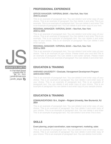 Resume Template 110540