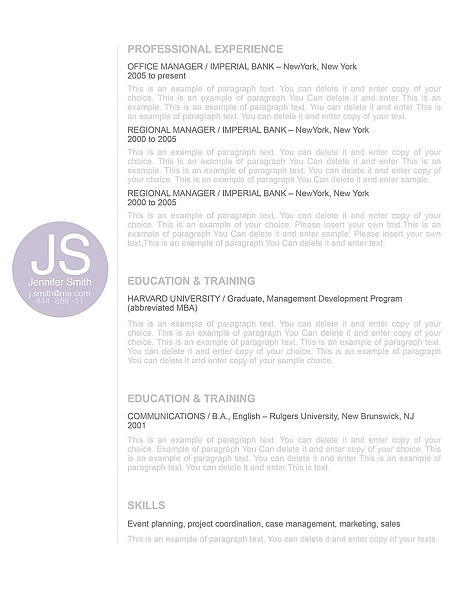 Resume Template 110550