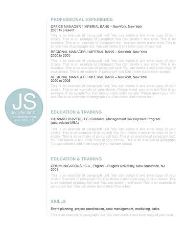 Resume Template 110560