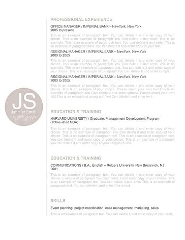 Resume Template 110570