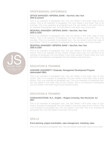Resume Template 110570