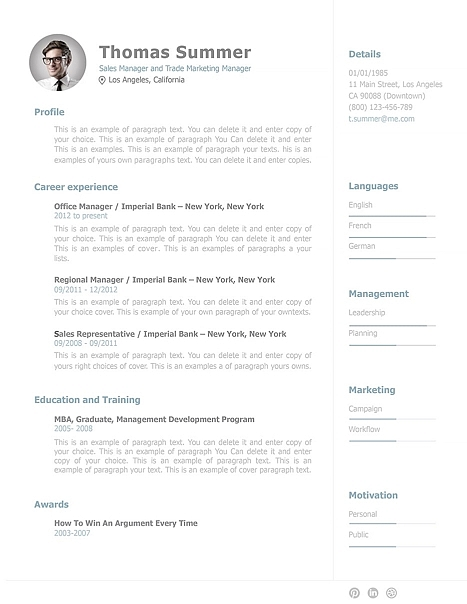 Resume Template 110940