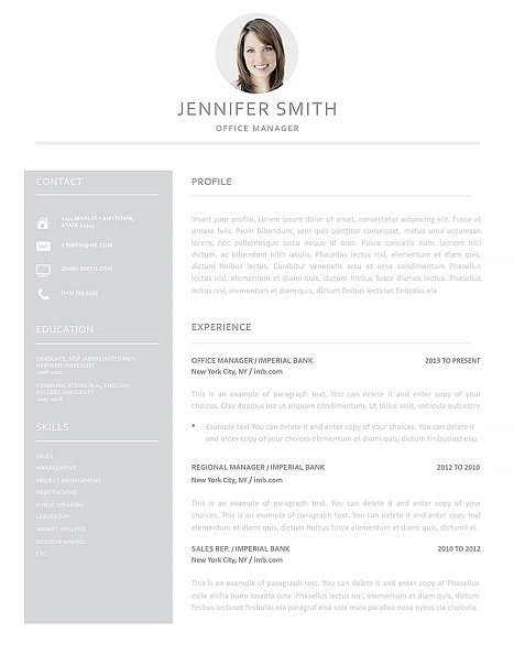 Resume Template 110990