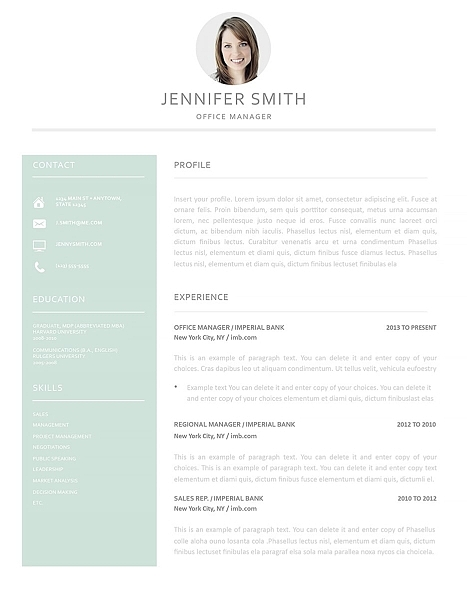 Resume Template 120010