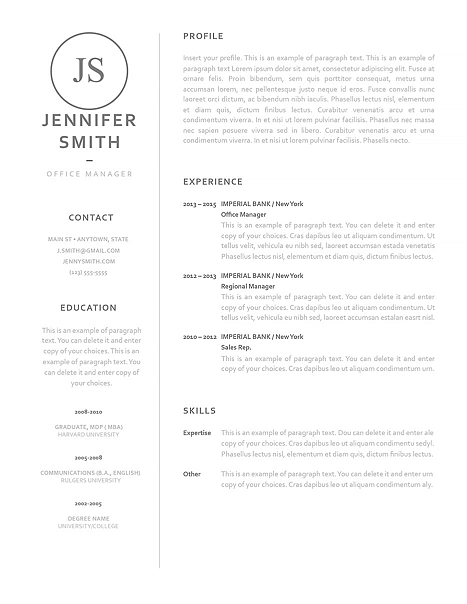 Classic Resume Template 120060