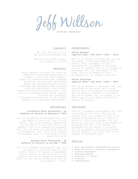 Elegant Resume Template 120130