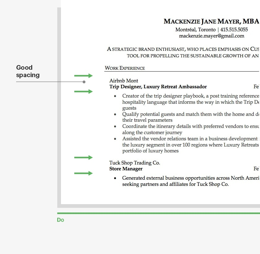 Resume White Space Good Spacing
