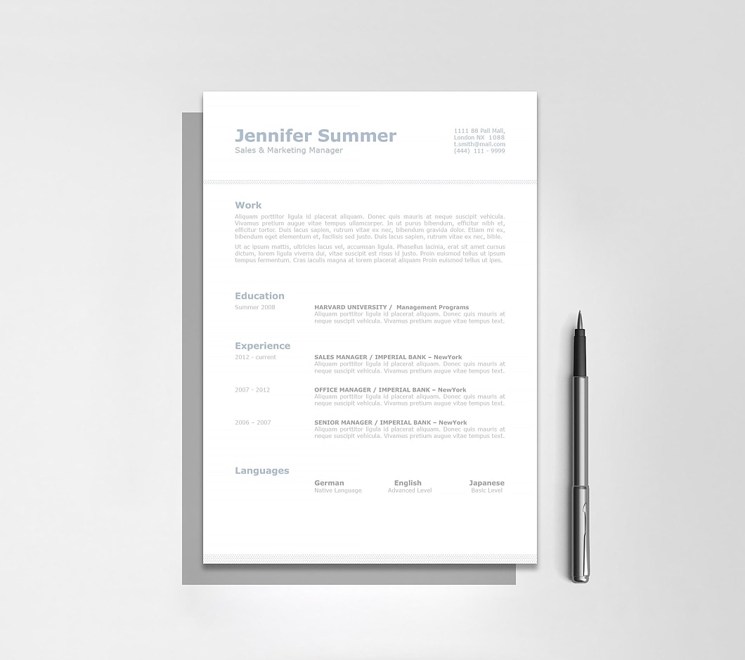 Resumeway Classic Resume Template 110730