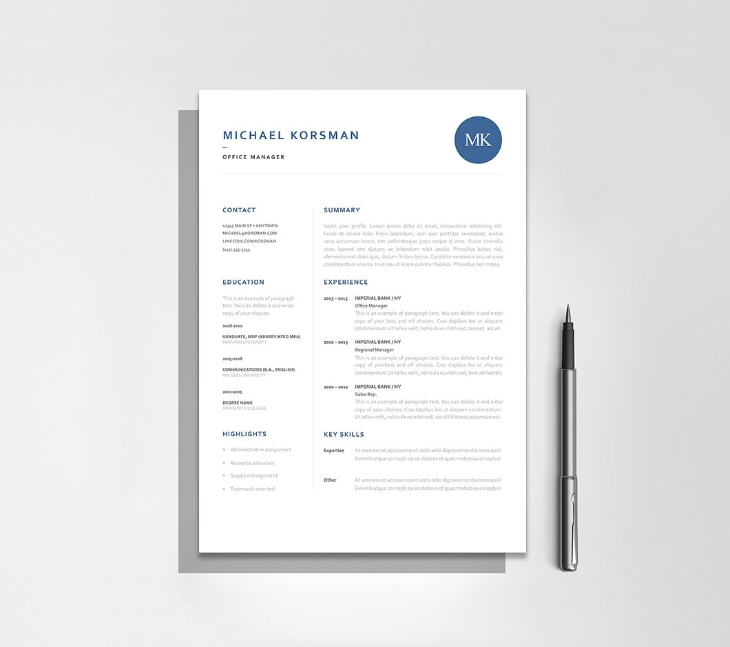 Resumeway Classic Resume Template 120190