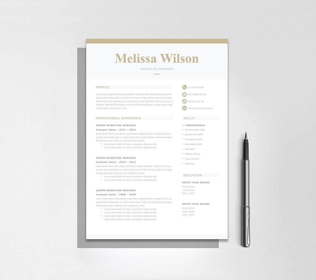 Resumeway Classic Resume Template 120330. Microsoft Word, iWork Pages.