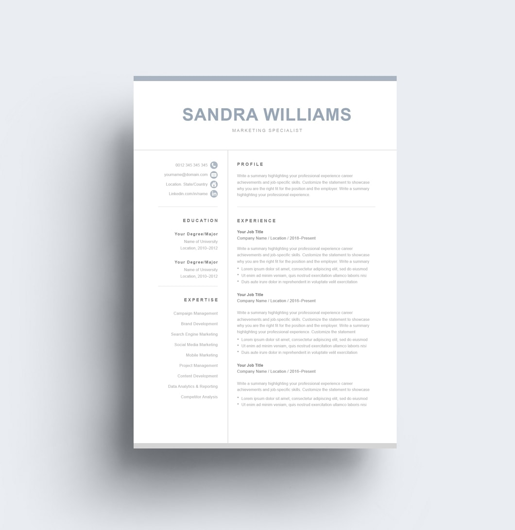 Resumeway Classic Resume Template 120550