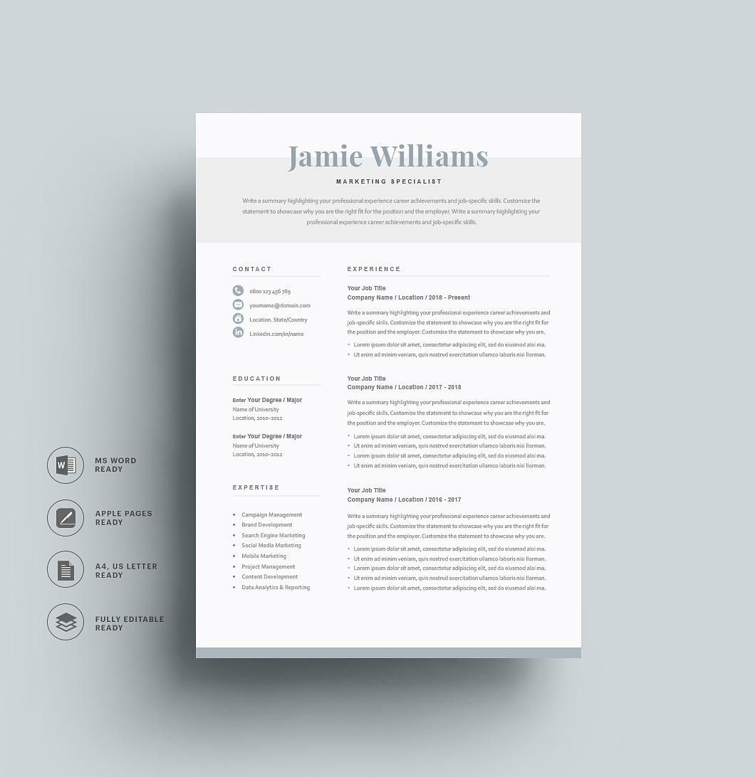 Resumeway Classic Resume Template 120600