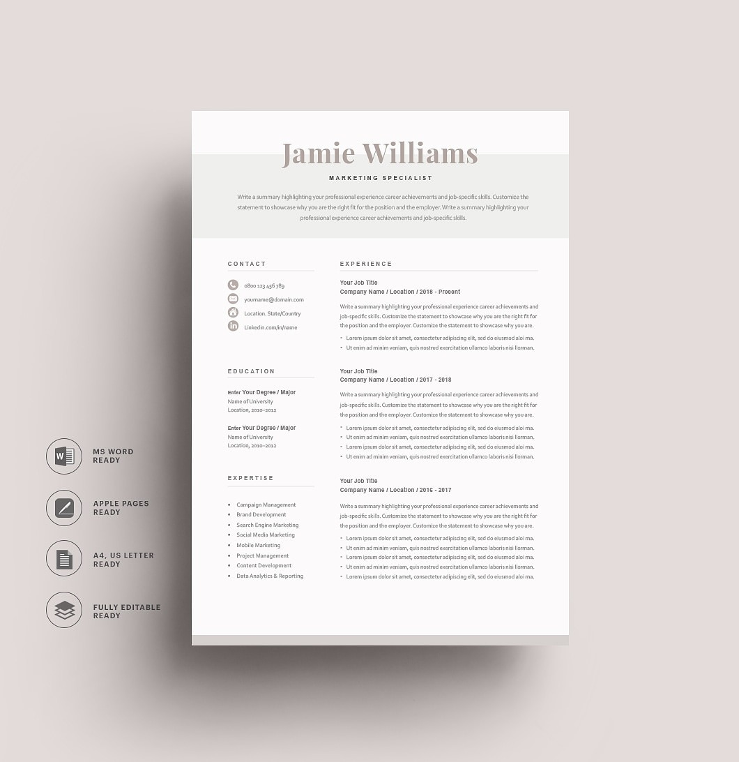 Resumeway Classic Resume Template 120620