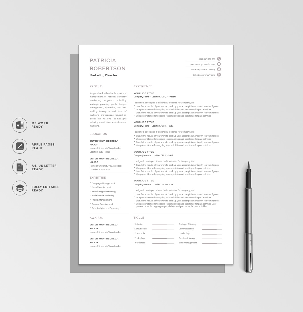 Resumeway Classic Resume Template 120700