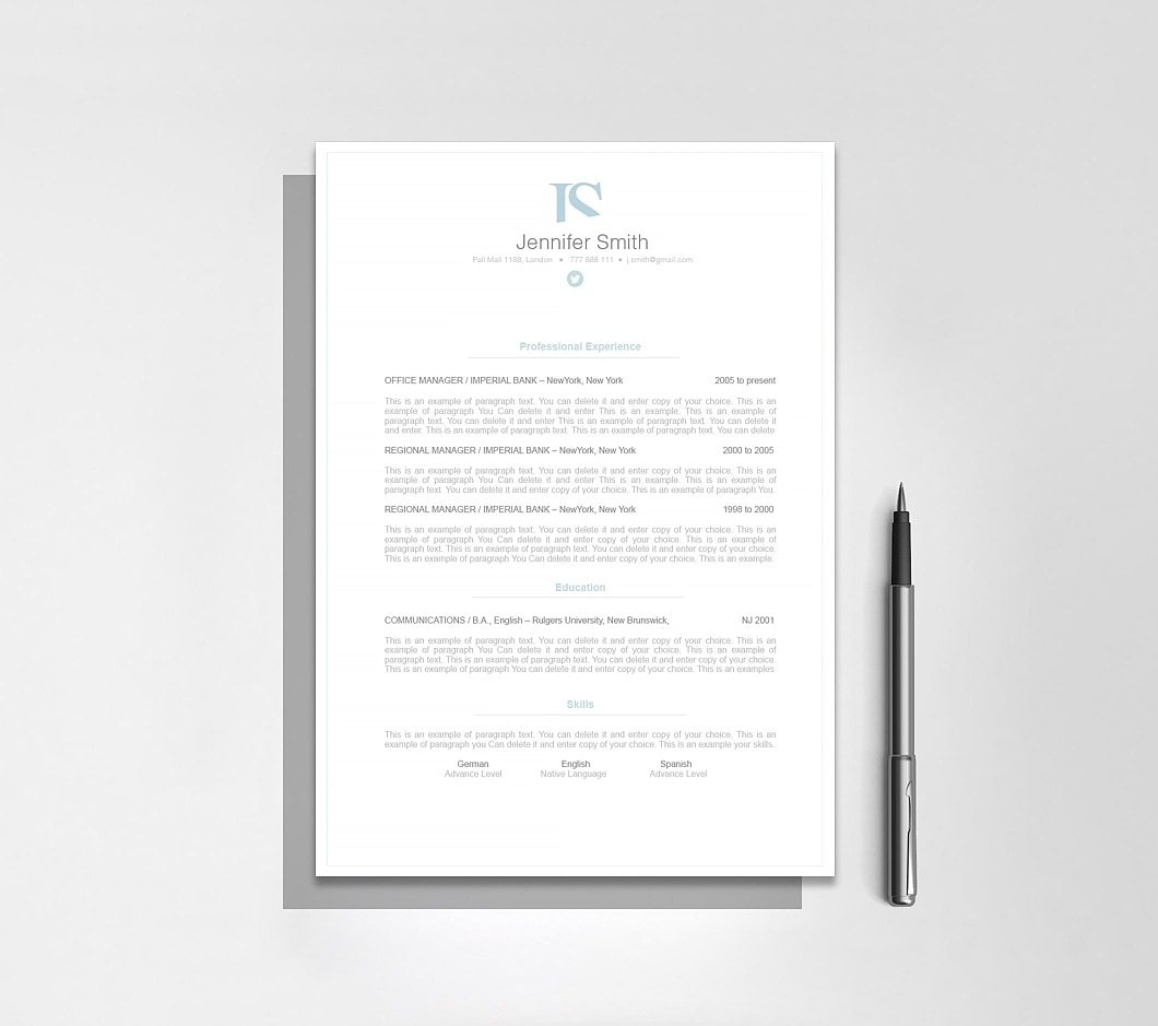 Resumeway Elegant Resume Template 110830
