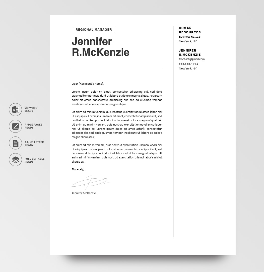 Resumeway Modern Cover Letter Template 120710