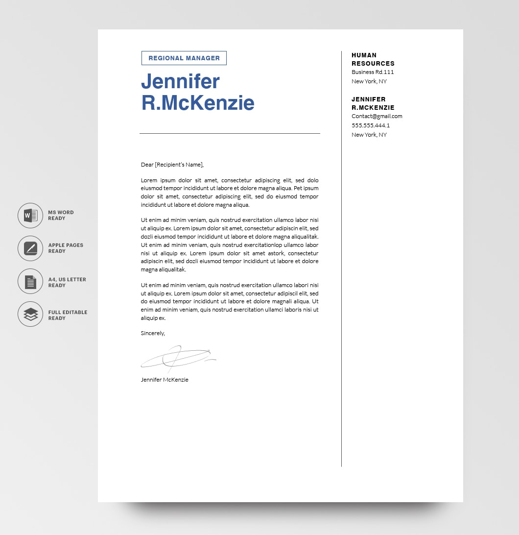 Resumeway Modern Cover Letter Template 120720