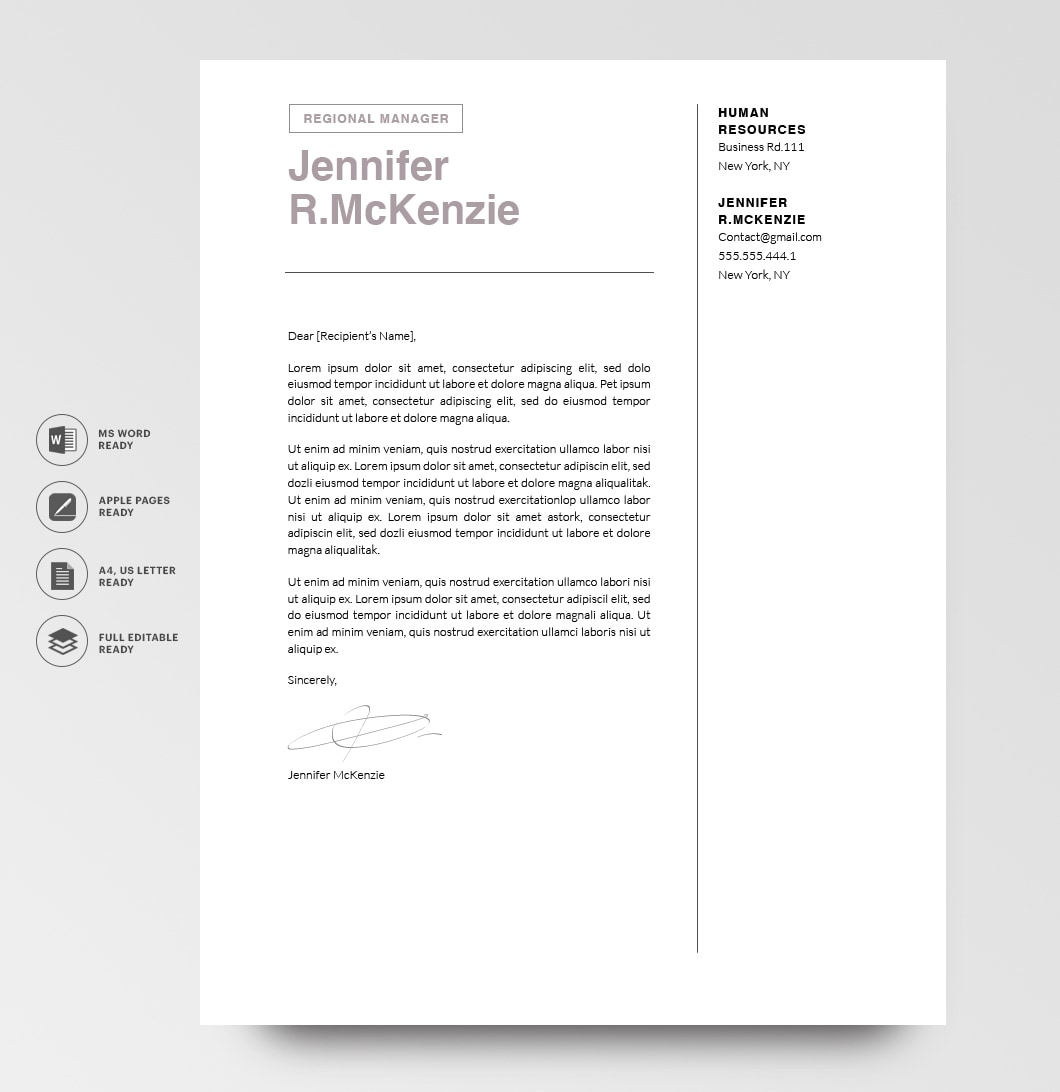 Resumeway Modern Cover Letter Template 120730