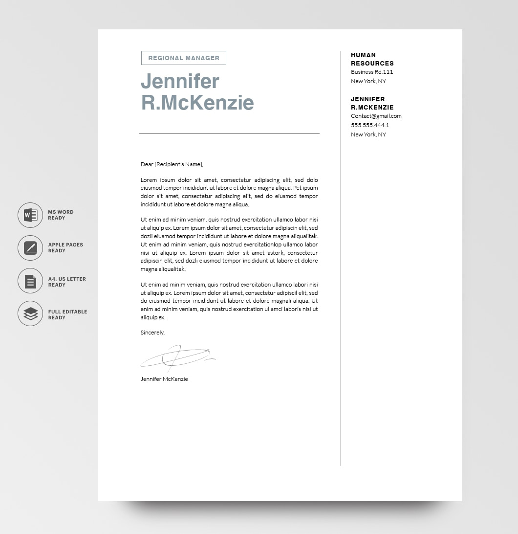 Resumeway Modern Cover Letter Template 120740