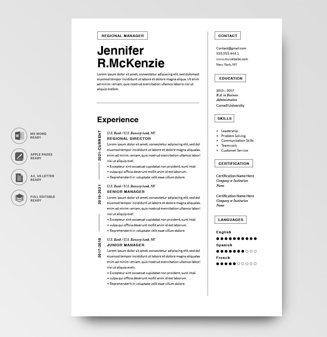 Resumeway Modern Resume Template 120710