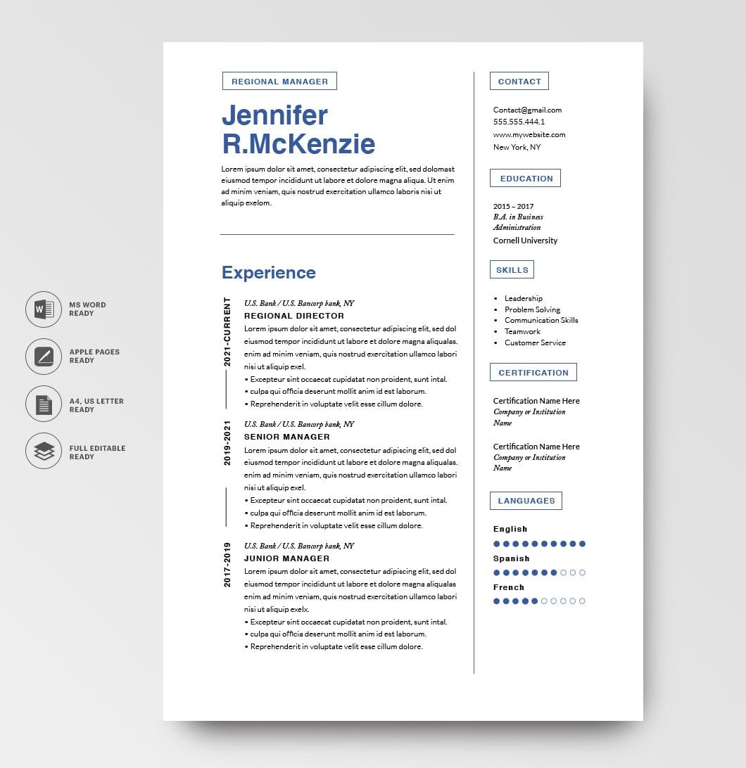Resumeway Modern Resume Template 120720