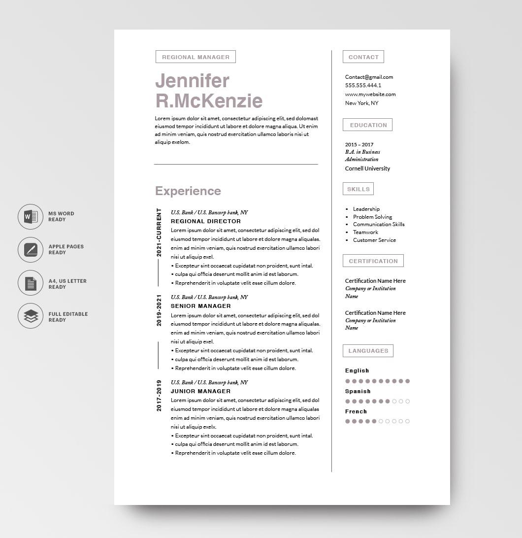 Resumeway Modern Resume Template 120730